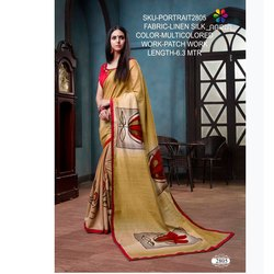 Rachna Linen Silk Patch Work Portrait Catalog Saree For Women 5