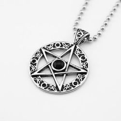 Black & Silver Star Pendant Necklace Chain Jewelry, Size: Full