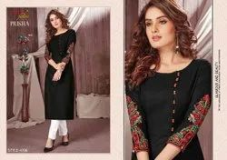 Ruby Silk Cotton Embroidered Kurti