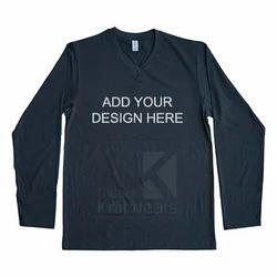 Custom V Neck Full Sleeve T Shirt