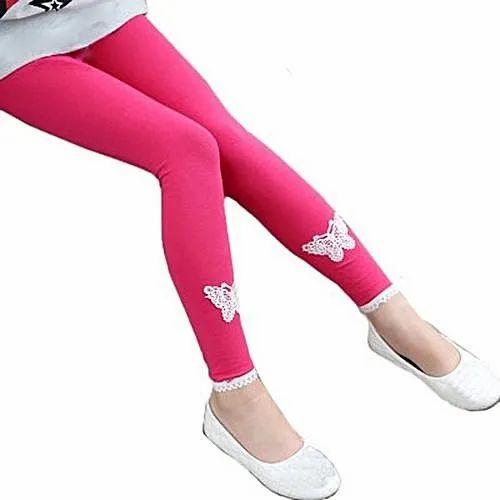 Plain Pink Lycra Cotton Kids Legging