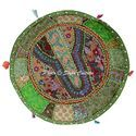 Round Ottoman Indian Ethnic Cushion Ottoman Cover