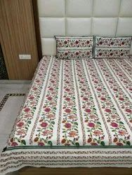 Cotton floral print Double Designer Bed Sheet, Hand Wah, Size: 90*108 Inch
