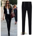 Black Spandex Slim Double Zipper Pant