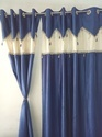 Rstc Door Curtain Royal Touch Pack Of 2 Pc ( Blue & Cream )