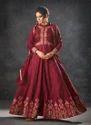 Raw Silk Party Wear Floor Length Designer Anarkali Suits
