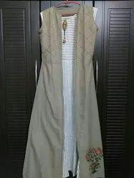 Vaibaarti: women sleeveless White & Greg Striped Dress with light brown Jacket.