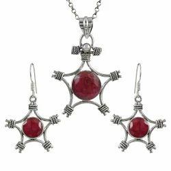 Large Ruby Pearl Gemstone Silver Jewelry Set