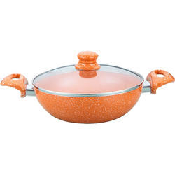 Wonderchef Tangerine Aluminum Wok, 1.6 Litres/20cm, Orange