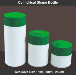 HDPE Flip Top Cap Cylindrical Shape Bottle, 250 ml
