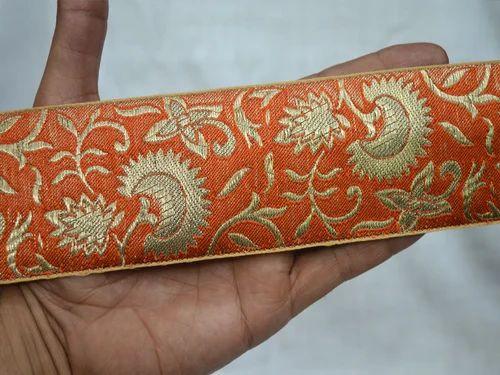 paisley orange gold jacquard embroidered ribbon applique motif trim Indian