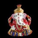 Aashirwad Jewellers White Metal Hand-carved Pagdi Ganesh Statue