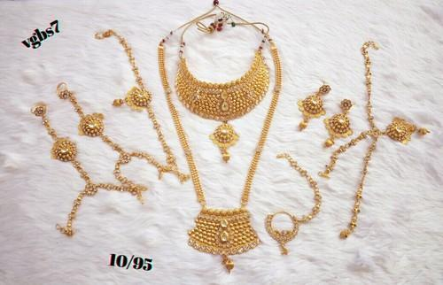 7c28abd63 Indian Bridal Necklace Set Women Wedding Fashion Jewelry Gold Plated ...
