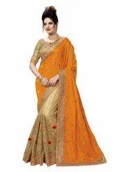 Wedding Wear Silk & Net Embroidery Work Half & Half Saree Saree With Blouse Piece(K812)