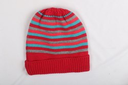 Kids Red Striped Winter Cap