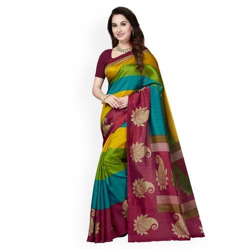 Printed Party Wear Silk Sarees, Length: 6.3 m (with blouse piece)