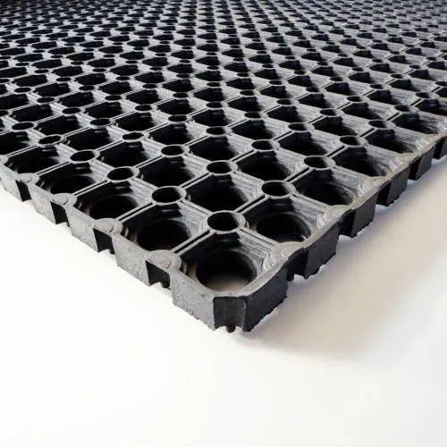 VRW Black Rubber Doormat for Entrance, Shape: Rectangle