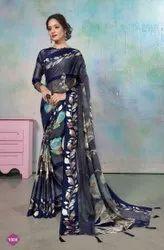 Blue strip brasso printed saree