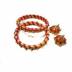 Round (bangles) Party Handmade Silk Thread Bangles Earring Set, Packaging Type: Box