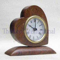 Heart shape decorative desktop wooden Gift Clock