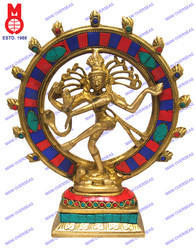Natraj Dancing W/Stone Work In Ring Statue