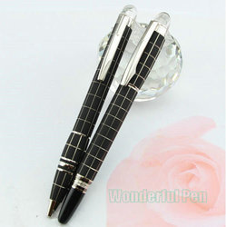 New 2 Pcs Set Mont Blanc Rubber Rollerball   Ballpoint Pen With MB Box