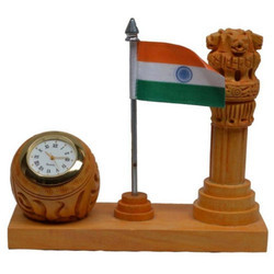 Wooden Ashok Stambh With Watch and Flag