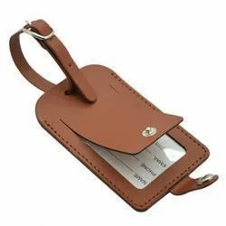 Leather Luggage Tag With Press Button Closure