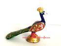 Meena Painted Peacock Sculpture