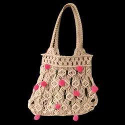 Cream,Pink Cotton fabric Ladies Stylish Purse