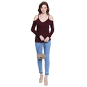 Ladies Cut Shoulder Maroon Top