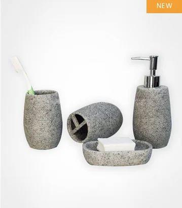 Stoneware Grey 4 Pcs Bath Set 199 Rs