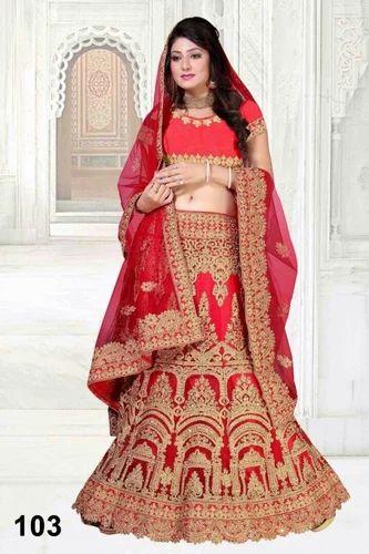 7e03f095c5 Net Red Color Semi-Stitched Wedding Wear Lehenga Choli, Size: 44, Rs ...
