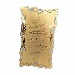 Brass Royal Rectangular Metal Wedding Card