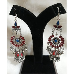 Oxdised German Silver Long Earrings