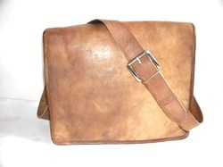 Flap Closure Classic Leather Satchel Bag