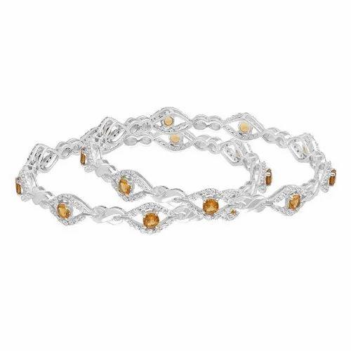 UD Silver Sterling Silver Zirconia Gemstone Silver Ladies Bangles