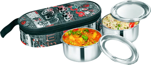 Heritage Silver Stainless Steel Lunch Box With Cover, Capacity: Standard
