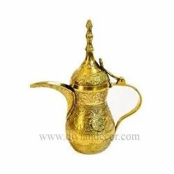 Golden Embossed Brass Dallah(Tea Pot)