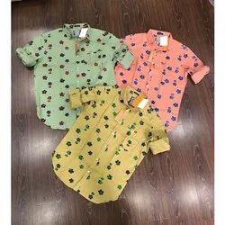 Casual Wear Collar Neck Flower Printed Men's Cotton Shirt