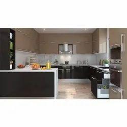 Wooden Modular Kitchen, Warranty: 5-10 Years, Kitchen Cabinets