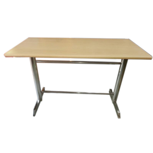 Wood Brown Wooden Restaurant Table Stainless Steel Bases And Top