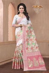 PR Fashion New White Banarasi Saree