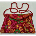 Bikaner House Red Hand Embroidered Fashion Bag