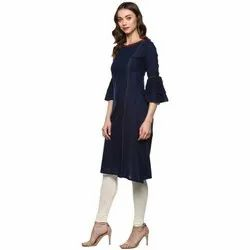 Yash Gallery Women's Solid Cotton Slub Kurta