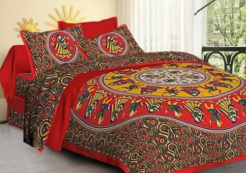 Indian Handmade 100/% Cotton New Rajasthani Tapestry Bed Sheet 2 Pillow Covers