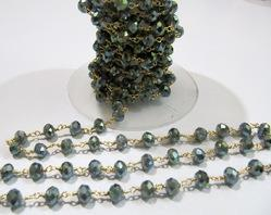 AAA Quality Mystic Coated Smoky Quartz Beaded Chain