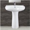 Ceramic Plain Wash Basin Pedestal, Shape: Rectangular