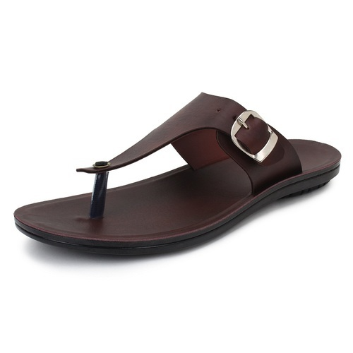 Men Brown Leather Slippers