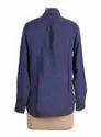 Ladies Blue Solid Shirt Top